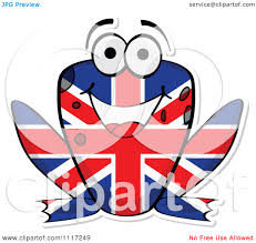 cartoon of a british flag frog royalty free vector clipart by