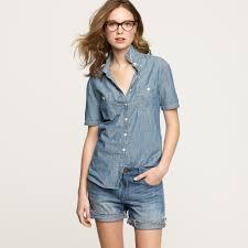j crew short sleeve selvedge chambray shirt in blue lyst