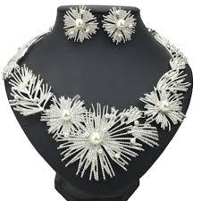 metal necklace set images Manilai big flower statement necklace set woman wedding african jpg