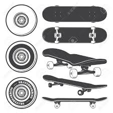 Set Of Skateboards And Skateboarding Wheels Royalty Free Cliparts