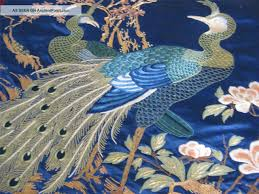 Silk Peacock Home Decor Japanese Embroidery Antique Japanese Silk Hand Embroidered