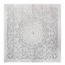 white wood wall hanging mandala carved wood wall panel siam sawadee
