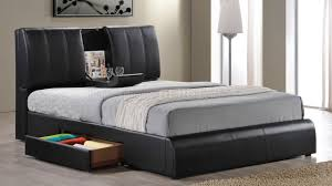 Tufted Bed With Storage 21270 Kofi Upholstered Bed In Black Leatherette By Acme