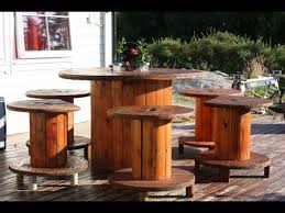 outdoor tables made out of wooden wire spools wooden cable spool table 30 upcycled furniture ideas youtube