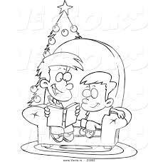vector of a cartoon boy reading a christmas story to his little