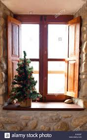 Wooden Interior Window Sill Christmas Tree On Wooden Window Sill Stock Photo Royalty Free