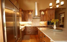 stainless steel kitchen cabinets online rustic alder cabinetry white countertop stainless steel appliances