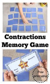 printable grammar game superhero contractions memory