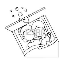 35 952 537 happy couple in bed stock vector illustration and