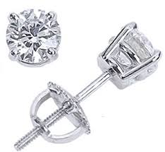 diamond back earrings 2 carat platinum solitaire diamond stud earrings
