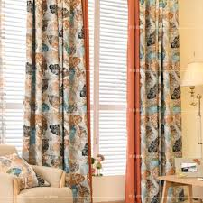 leaf print polyester shabby chic country color block curtains for