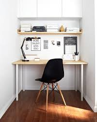 small scandinavian home office with white walls dark hardwood