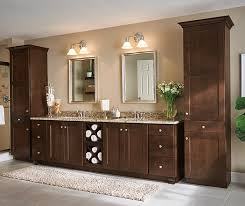 Dark Wood Cabinets In A Transitional Bathroom Aristokraft - Dark wood bathroom cabinets