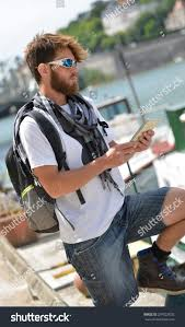 City Map Glasses Young Tourist Man Backpack City Map Stock Photo 207023032