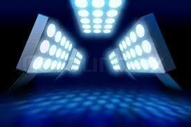 Arena Lights Stadium Style Lights Illuminating Blue Surface Stock Photo