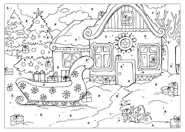 coloring page hut santa claus
