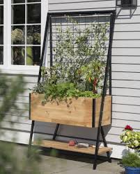 apex self watering elevated planter box with trellis gardeners com