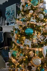 brown christmas tree sale turquoise silver white decor charming zebra christmas