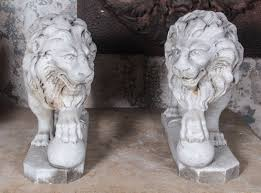 marble lions pair of italian marble lions for sale at 1stdibs