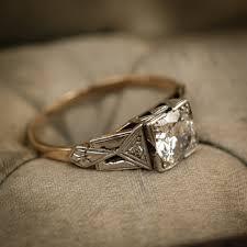 stunning vintage geometric art deco diamond engagement ring