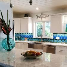 moroccan fish scales kitchen backsplash by mercury mosaics