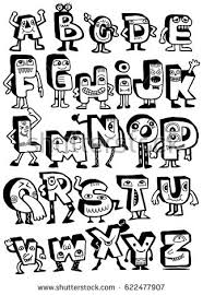 hand drawn funny monster alphabet isolated stock vector 625233557