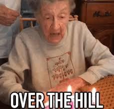 Over The Hill Meme - over the hill grandma gif overthehill grandma blowthecandle