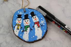 wood slice fingerprint snowmen ornaments frugal eh