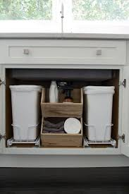 under sink trash pull out diy pull out trash can in a kitchen cabinet amazing idea house