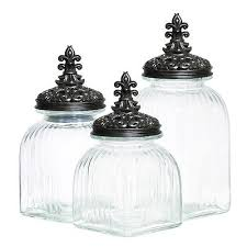 clear glass kitchen canister set of 3 clamp lid sugar storage