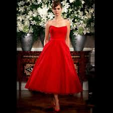 vintage 2015 red wedding dresses lace garden sleeveless a line tea