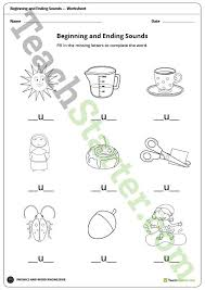 beginning and ending sounds vowels worksheets teaching