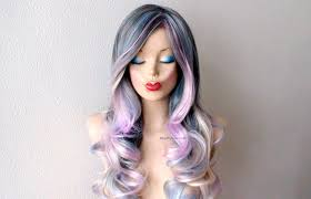 ambre suit curly hair pastel dark gray baby blue lavender cream blonde ombre