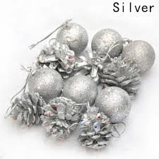 12pcs christmas tree hanging balls gold silver pine cone color