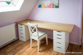 bureau chez ikea beau et grand bureau réalisé à partir d 1 plan de travail en chêne