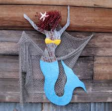 wooden mermaid wall crafted handmade upcycled large metal mermaid wall