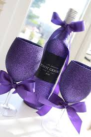 wine glass gift glittery wine chagne prosecco or cava and two standard wine