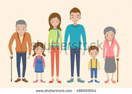 happy caucasian family many children portrait stock vector