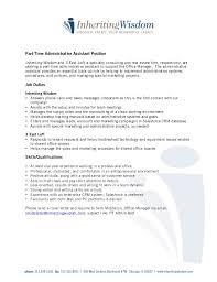 Marketing Assistant Job Description For Resume by Part Time Administrative Assistant Job Description