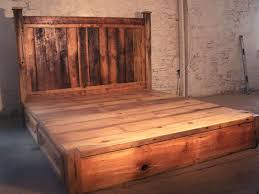 Reclaimed Platform Bed - buy hand crafted reclaimed rustic pine platform bed with headboard