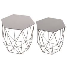 Wire Side Table Hexagon Grey Six Sided Wire Wood Side Table Set Of 2