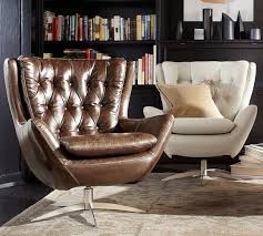 Pottery Barn Leather Couches Wells Leather Swivel Armchair Pottery Barn Zack U0027s Room