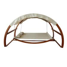 Hammock With Wooden Stand Leisure Season Patio Swing Bed With Canopy Sbwc402 The Home Depot