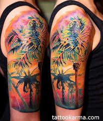 colorful palm tree on right half sleeve colorful