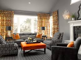 Curtain Color For Orange Walls Inspiration Living Room Top Inspiration Of Grey And Orange Living Room Ideas