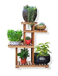 regal balkon massivholz blumen rack karbonisierung pflanze regale vier schicht
