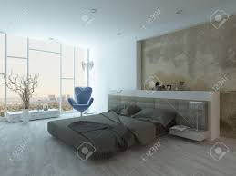 grunge style bedroom interior with beige colored bed stock photo
