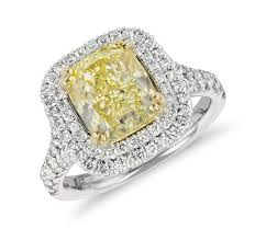 cushion cut engagement ring blue nile fancy yellow cushion cut ring in platinum 3 32
