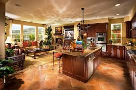 contemporary open concept kitchen dining room and family den
