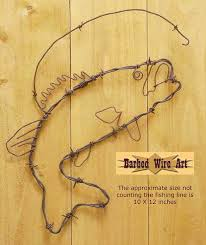 Barbed Wire Home Decor Bass Fish Handmade Metal Decor Barbed Wire Art Country